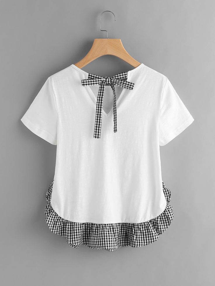 Shop Checkered Bow Back And Ruffle Trim Slub T-shirt online. SheIn offers Checkered Bow Back And Ruffle Trim Slub T-shirt & more to fit your fashionable needs.