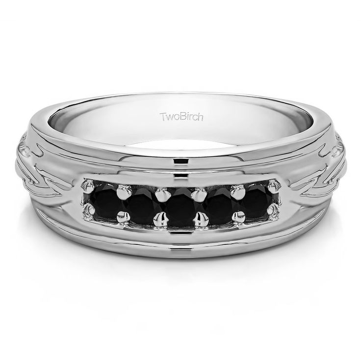 Sterling Silver Engraved Design Cool Mens Wedding Ring or Unique Mens' Fashion Ring With Black Diamonds