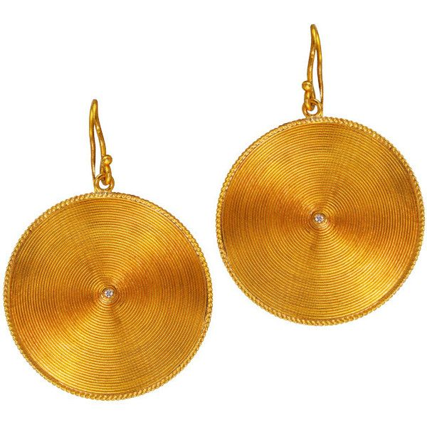 "Cevherun """"African Sun"""" 24K Yellow Golds Earrings ($2,850) ❤ liked on Polyvore featuring jewelry, earrings, hammered disc earrings, 24 karat gold earrings, african earrings, stud earring set and 24k gold earrings"