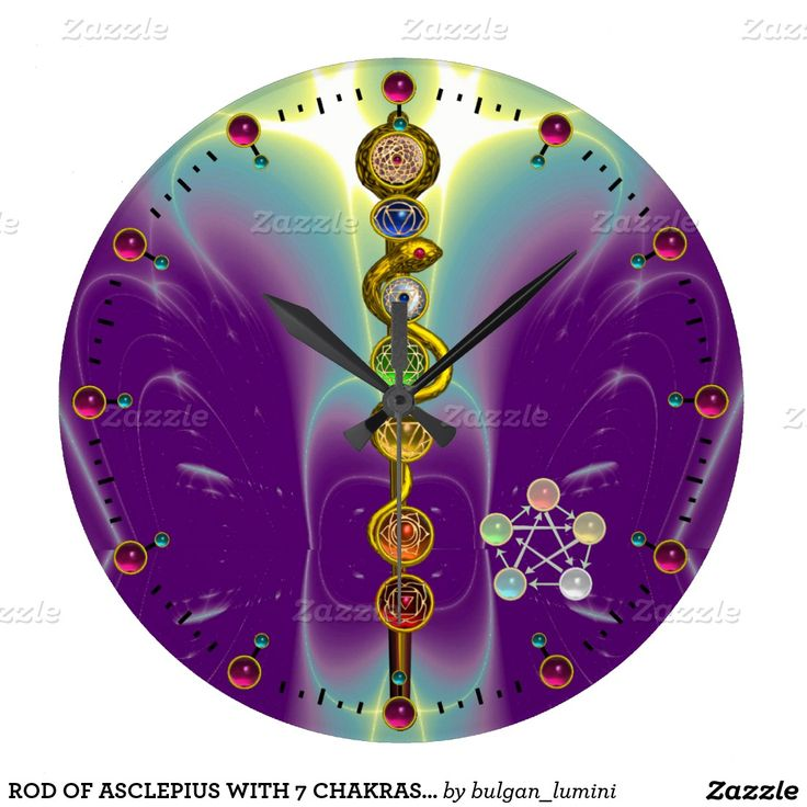 ROD OF ASCLEPIUS WITH 7 CHAKRAS ,SPIRITUAL ENERGY WALL CLOCKS