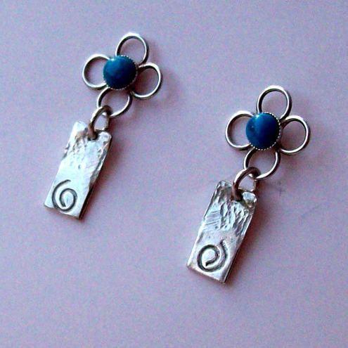 Silver Turquoise Earrings Flower Stud Dangle Tribal £29.00
