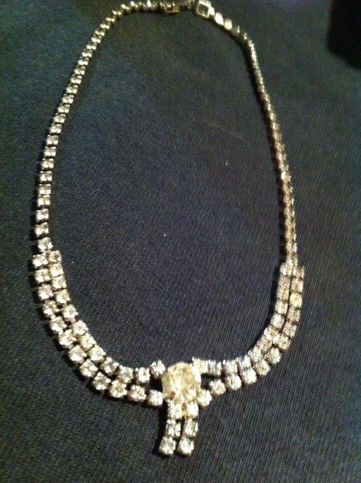 Vintage 1920s 30s Rhinestone Necklace Costume Jewelry