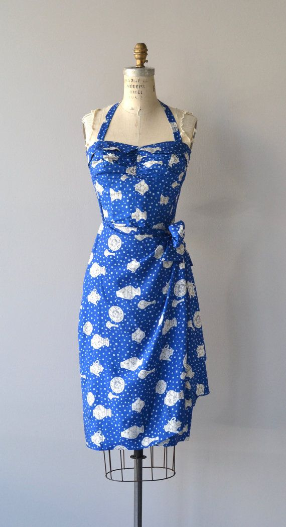 Vintage 1950s Bullocks Wilshire for Kahala cobalt blue silk sarong dress with Grecian urn and white polka dot print, shaped pellon lined bust, button