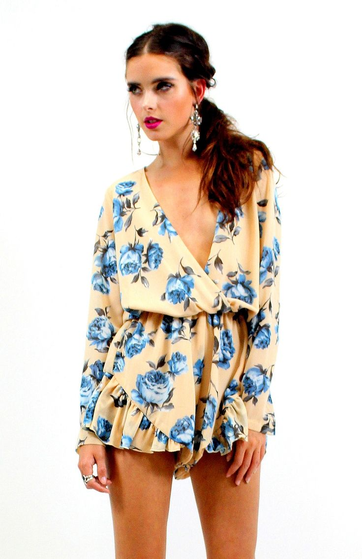 Long sleeve White floral romper / Playsuit from Ashanti