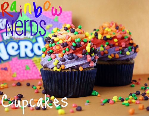 """Rainbow Nerds Cupcakes... """"These need to happen for you. It's like sugar and color and all the good happy things of the land baked into a cupcake liner.""""- Confessions of a Cookbook Queen"""