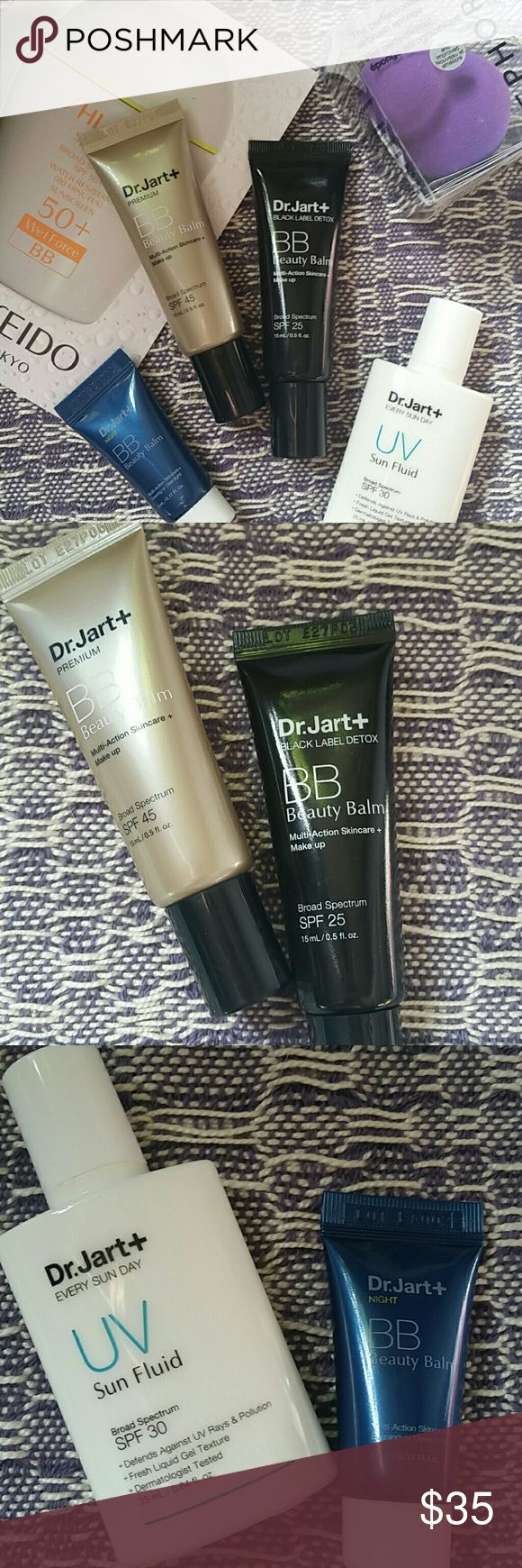 Dr. Jart+ skincare bundle Bundle of 5 products plus a sunscreen sample. All products are new, never swatched*  Dr. Jart+ Premium BB Beauty Balm, spf 45, 15 mL Dr. Jart+ Black Label BB Beauty Balm, spf 25, 15 mL Dr. Jart+ UV Sun Fluid, spf 30, 25 mL Dr. Jart+ Night BB Beauty Balm, 5 mL Sephora Perfectionist blending sponge  Shiseido sunscreen BB sample   *the Dr. Jart+ products are NOT sealed, and product leakage is possible during shipment. Be assured, these are new, unused products* Dr…