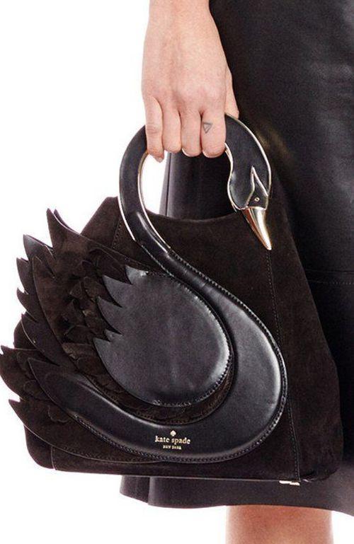 Kate ♠️ Spade gorgeous black leather swan bag #Luxurydotcom