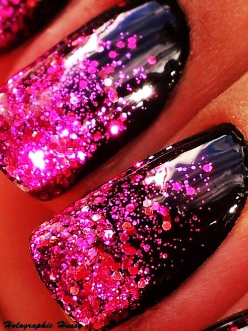 hot pink nails with diamonds - photo #15