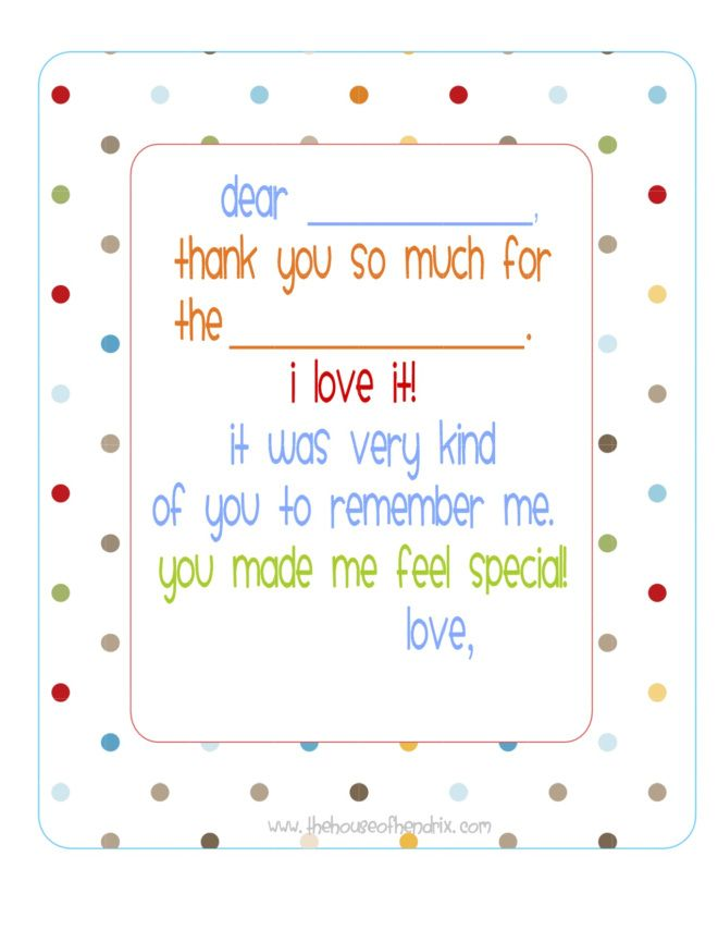 kids thank you notes template