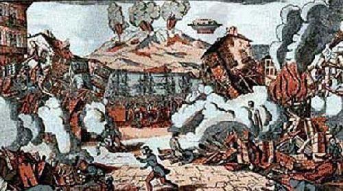 Même à Pointe a pitre... tableau peint en 1843 ou l'on peut voir un objet surveillant une éruption...