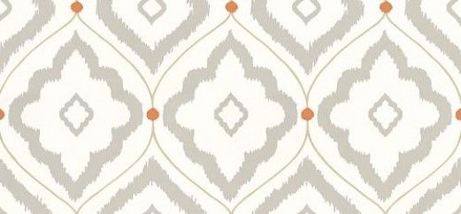 Bungalow (T16055) - Thibaut Wallpapers - A mid scale, all over damask wallpaper design with a block print effect. Shown here in grey and orange on an off white background. Other colourways are available. Please request a sample for a true colour match. This is an American wallcovering and will take between 7-10 working days for delivery. Wide width product.