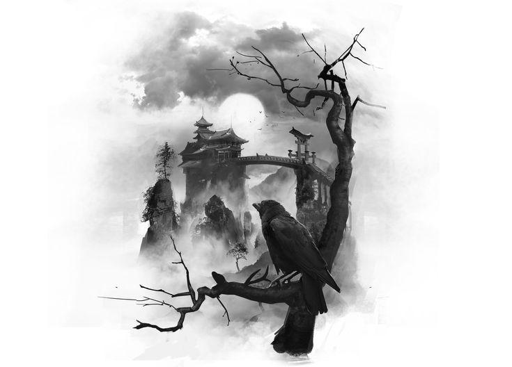Temple Tattoo By Rhysgriffiths Japanese Bridge Moon Crow