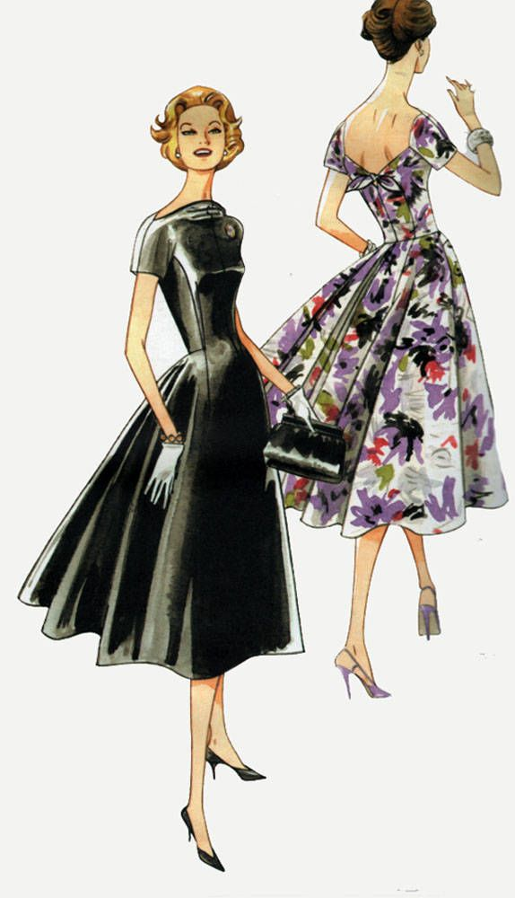 1950s Elegant Day Dress w/ Low Back Inverted Back Pleat Sewing Pattern Vogue 1084 Vintage Model Reissue Plus Size 14-20 B 36-42 by sandritocat on Etsy