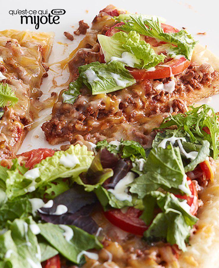Pizza façon tacos garnie de salade #recette