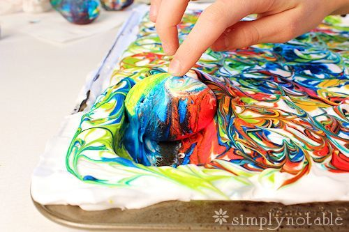 "Dyed Easter Eggs with shaving cream? Yes, please.  Love this idea.  Planning to use this with some ""big kids"" this Easter."