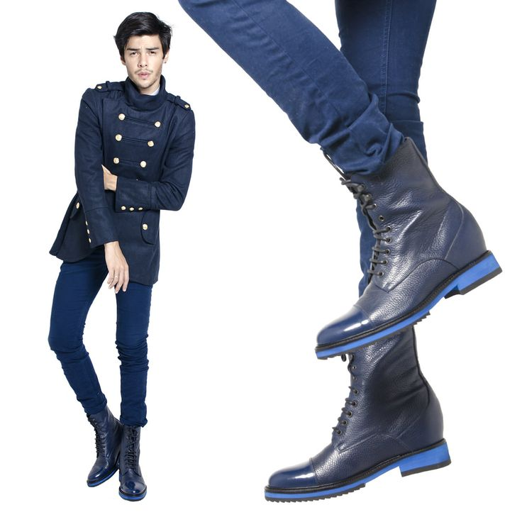 Luxury height increasing boots - Oslo, full leather boots with shiny blue calfskin. Made in Italy by Guidomaggi.com/us. Get them on : http://www.guidomaggi.com/us/luxury-collection/elevator-boots/oslo-detail#.VFpgUclFHX4