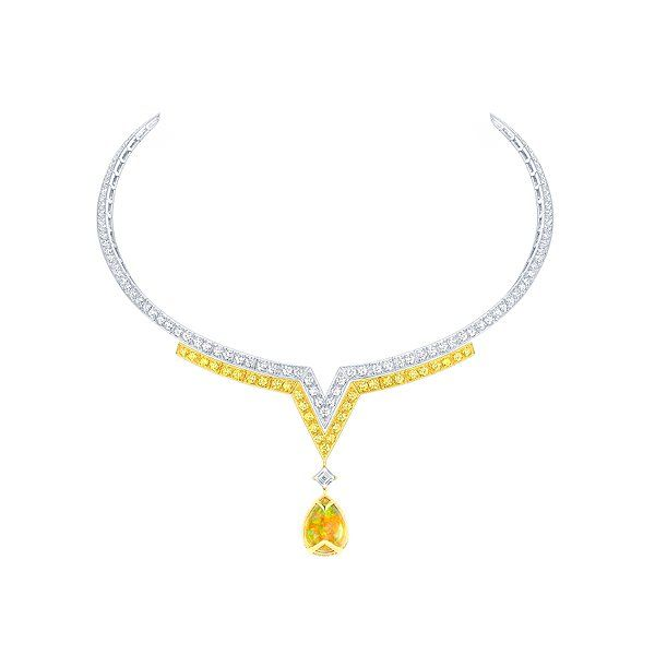 Louis Vuitton Apotheosis necklace in white and yellow gold with white and yellow diamonds, and one Mexican opal, price upon request