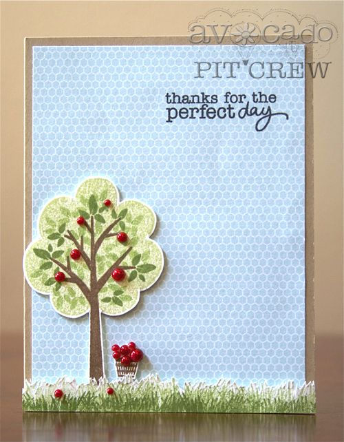 Ashley Harris is bringing in the Fall with this perfectly perfect card design building a perfect fall scene. Using the tree builder elements and the grass she created this super cute apple tree paired with the basket from the Wishes and Kind Thoughts set.