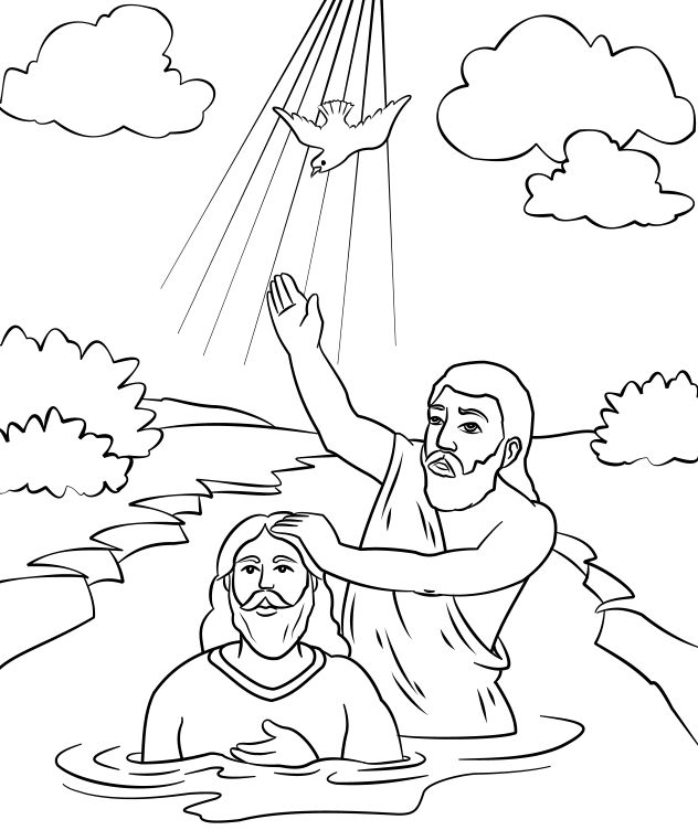 week jesus baptism john the baptist coloring page