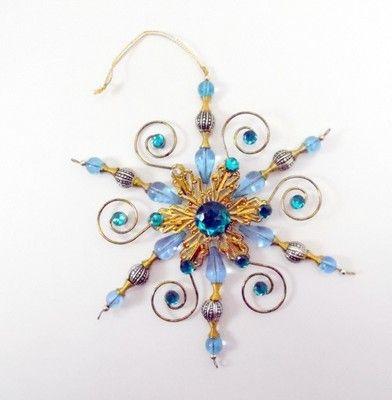 Snowflake Ornament Beaded Christmas Light Blue Aqua Rhinestones on eBay