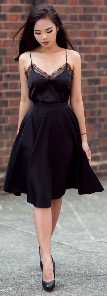 Great How to wear black well? one-mum-show.fr / … #jupenoire #caraconoir #totallo …
