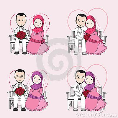 Muslim wedding couple vector cartoon, bride and groom sitting on a chair