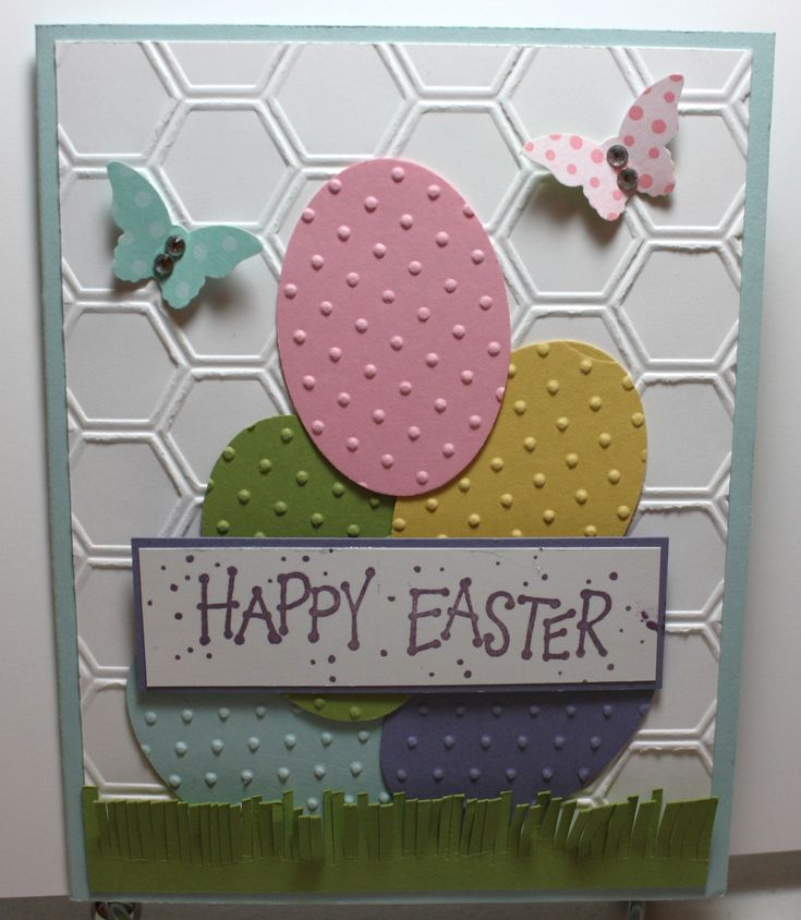 Easter card using up scraps of card stock and DSP. Honeycomb EF, Extra Large Oval punch and Bitty Butterfly punch