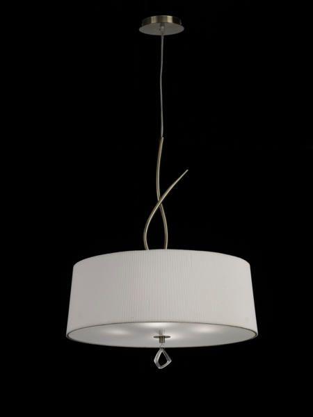 Lustre 4 lampes avec abat jour Mantra Mara antique Tissus et métal 1624 – Lustres avec abats jours chez Luminaires Online