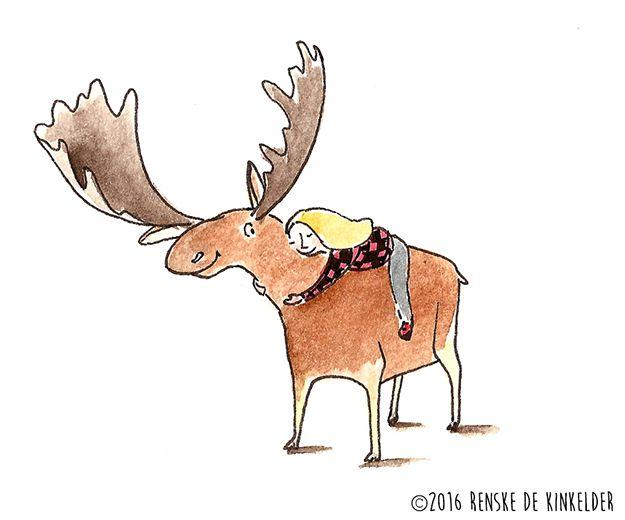 Best Friends, illustration of a moose and a girl, watercolour and micron pen, Renske de Kinkelder