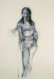 Angela Grossman. La Senza Girl I, 2006 oil and mixed media on paper 40 x 30 inches