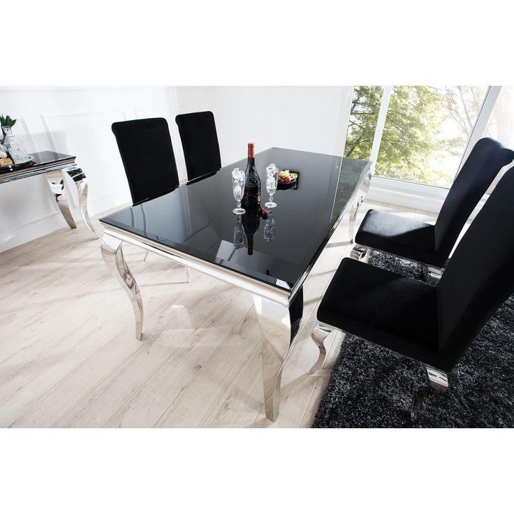 Jedálenský stôl Modern Barock  Rozmery: 180x90cm  Vrchná doska: Opalglas, Tempered Glass 12mm  Výška: 75cm  Material:  Opalglas, Tempered Glass - nohy lesklý chróm  Jedálenské stoly s vysokým leskom   Vysoko lesk