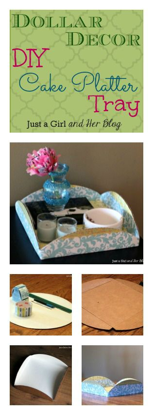 Make a cute tray out of a cake platter and some pretty tape! Gotta love dollar decor!