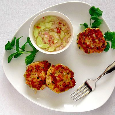 Lemongrass Crab & Scallop Cakes with a Spicy Cucumber Dipping Sauce