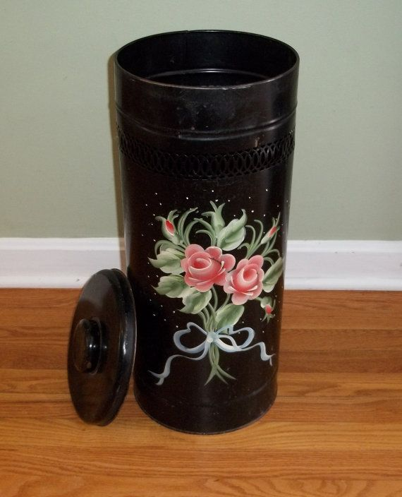 Vintage Round Metal Clothes Hamper Trash Can or by Route66StLouis, $45.00