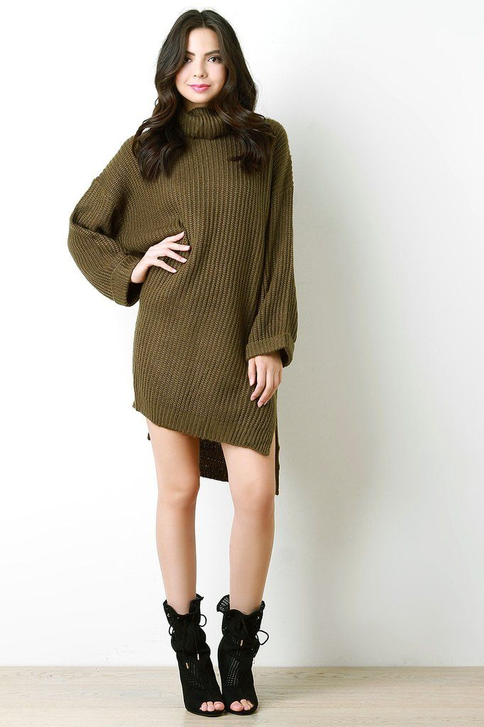 Over-sized Chunky Knit Cowl Neck Sweater Dress – Style Lavish