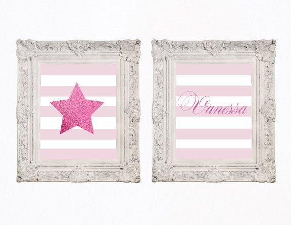 Printable Nursery Wall Art Star And Stripes Baby by PapierCouture1