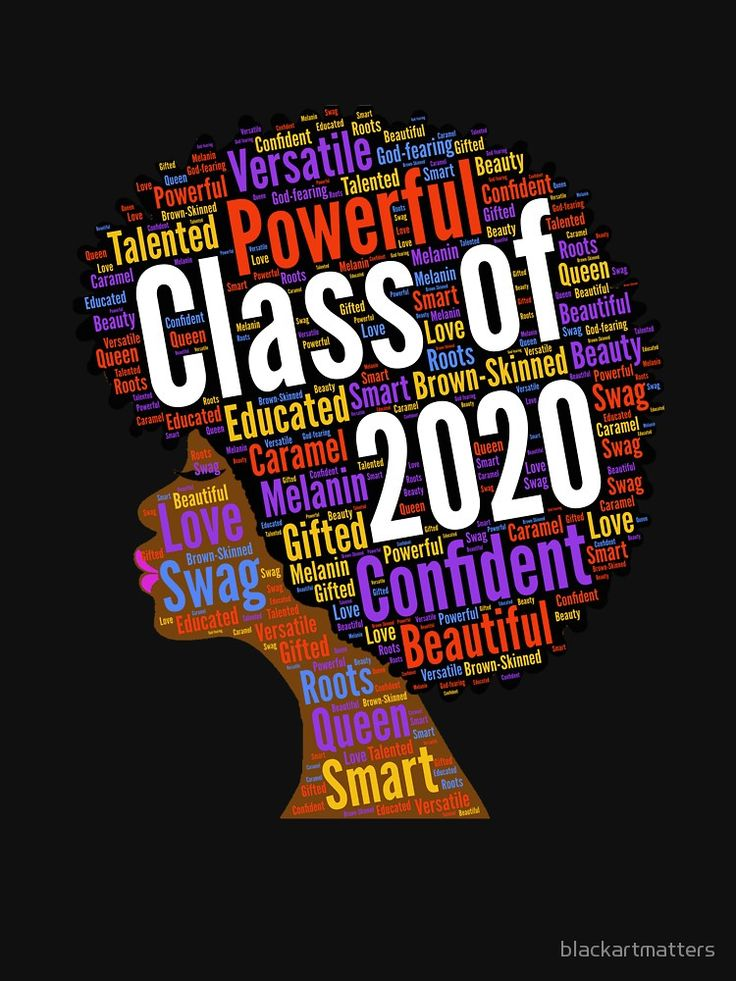 Class of 2020 Words in Afro Natural Hair | Unisex T-Shirt ...