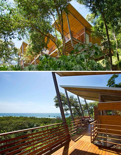 Floating Modern Treehouse 2    Not only does this optimize views of the Pacific, it also allows the home to have a smaller environmental impact on the site. Made almost entirely of wood, 'Casa Flotanta' blends in with its tropical surroundings, feeling almost like a natural part of the forest.