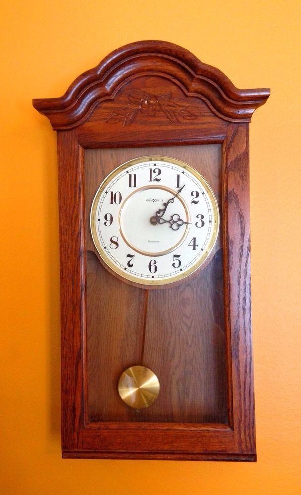Howard Miller 613 235 Dark Oak Wall Clock Bellflower Style No Chime 20867000005 Ebay Wall Clock Clock Antique Wall Clock