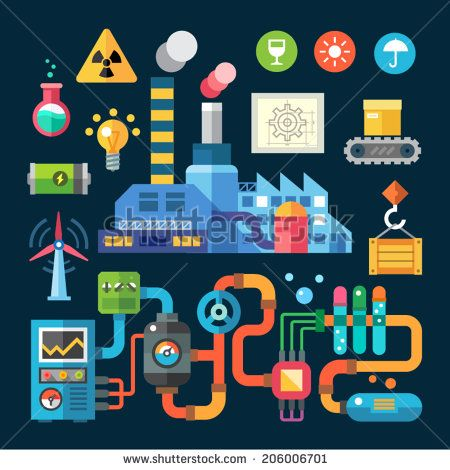 Color  vector flat illustrations and icons  factory and protection ofenvironment: plant, smoke, pollution, radiation, chemistry, electricity, cargo, goods, boxes, tap, ellivator, pipes, levers, system - stock vector