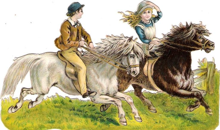 Oblaten Glanzbild scrap die cut chromo Kind child 17,8 cm Pferd horse cheval