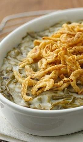 Let's be honest: The sides are the real stars of the Thanksgiving table! All you need is 4 simple ingredients (canned green beans, condensed cream of mushroom soup, milk and French-fried onions) to craft this spectacular, creamy veggie dish—one of our most-pinned Thanksgiving recipes. Click through for the full recipe and to watch the how-to video.: