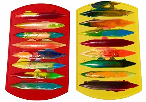 CrayOn 2 Double Tipped, Triangular Silicone Crayon Molds – Makes 16 Crayons (Total)