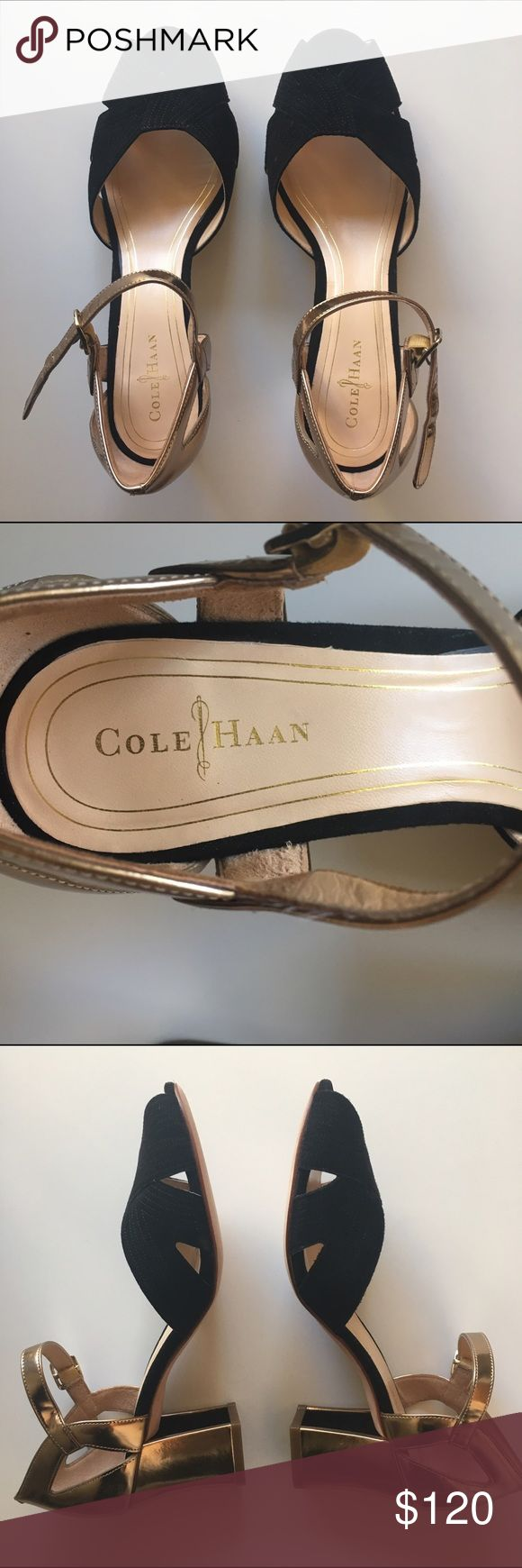 Cole Haan Gold and Suede Shoes Never wore them but there is a slight smudge on the inside on the left shoe, barely noticeable. Got them at the retail store, not the outlet.  Non-smoking, pet-free house. Cole Haan Shoes Heels