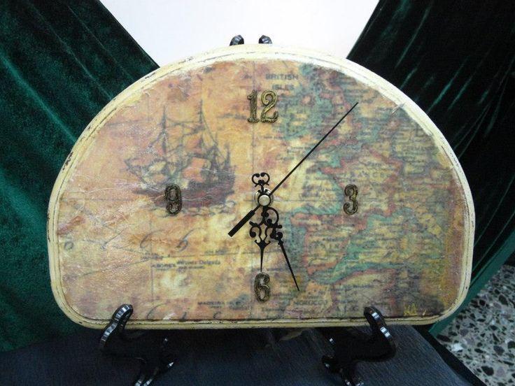 clock -  old map (decoupage technique)