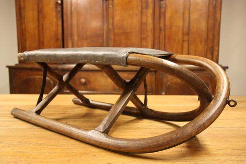 Antiques Atlas - Victorian Antique Ash & Leather Folding Sledge.