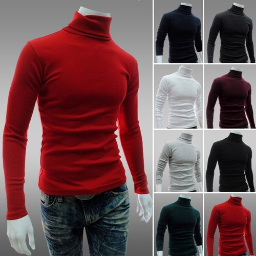 2014 New Men's Sweaters Turtleneck Slim Fit Pullover Thermal Sweater Multi Color Option Solid Design Soft And Warm 8 Color