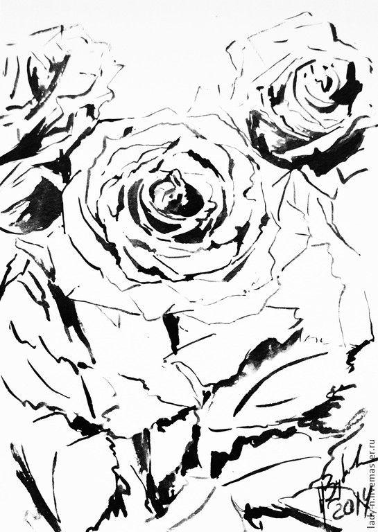 """Купить Триптих """"Из жизни роз"""". Картины тушью - черный, белый, монохром, триптих, розы"""
