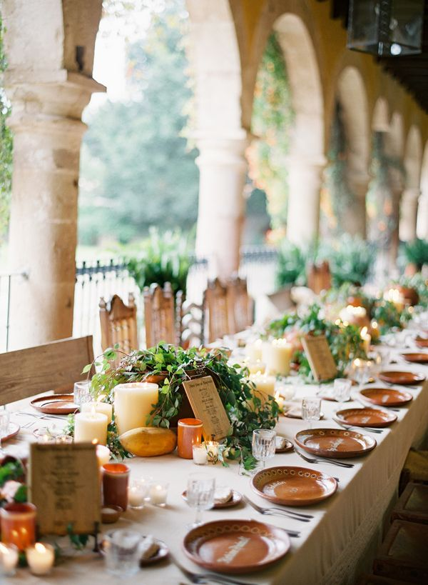 Love this simple, beautiful wedding tablescape on a veranda