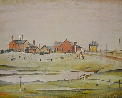 LAURENCE STEPHEN LOWRY - Coloured print, farm buildings, blind stamp, signed in pencil sold at Fieldings Auctioneers for £520 www.fieldingsauctioneers.co.uk